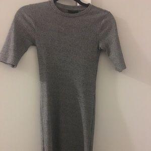 TopShop Mock Neck Gray Dress